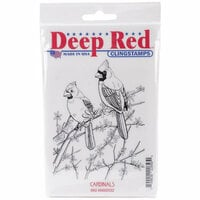 Deep Red Stamps - Cling Mounted Rubber Stamp - Cardinals