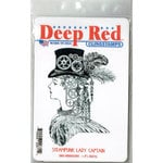 Deep Red Stamps - Cling Mounted Rubber Stamp - Steampunk Lady
