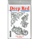 Deep Red Stamps - Cling Mounted Rubber Stamp - Fleur Scroll