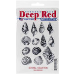 Deep Red Stamps - Cling Mounted Rubber Stamp - Seashell Collection