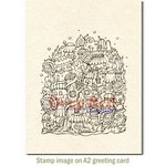 Deep Red Stamps - Cling Mounted Rubber Stamp - Elf Village