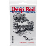 Deep Red Stamps - Cling Mounted Rubber Stamp - Stone Bridge