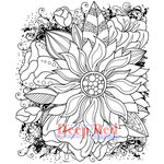Deep Red Stamps - Cling Mounted Rubber Stamp - Color Me Sunflower