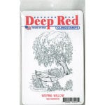 Deep Red Stamps - Cling Mounted Rubber Stamp - Weeping Willow