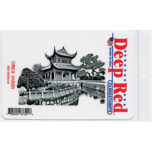 Deep Red Stamps - Cling Mounted Rubber Stamp - Chinese Garden