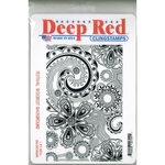 Deep Red Stamps - Cling Mounted Rubber Stamp - Festival Woodcut Background