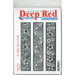 Deep Red Stamps - Cling Mounted Rubber Stamp - Linocut Floral Panels