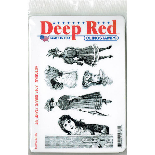 Deep Red Stamps - Cling Mounted Rubber Stamp - Victorian Ladies