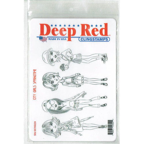 Deep Red Stamps - Cling Mounted Rubber Stamp - City Girls Springtime