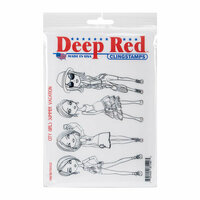 Deep Red Stamps - Cling Mounted Rubber Stamp - City Girls Summer Vacation