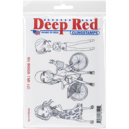 Deep Red Stamps - Cling Mounted Rubber Stamp - City Girls Weekend Fun