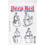 Deep Red Stamps - Christmas - Cling Mounted Rubber Stamp - Snowman Collection