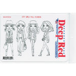 Deep Red Stamps - Cling Mounted Rubber Stamp - City Girls Fall Fashions