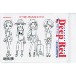 Deep Red Stamps - Cling Mounted Rubber Stamp - City Girls Traveling in Styles