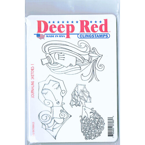 Deep Red Stamps - Cling Mounted Rubber Stamp - Journaling Sketches 1
