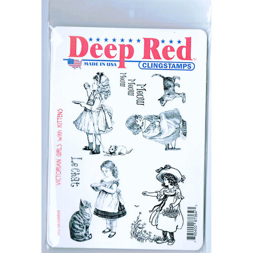 Deep Red Stamps - Cling Mounted Rubber Stamp - Victorian Girls with Kittens