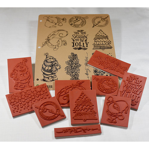 Deep Red Stamps - Christmas - Cling Mounted Rubber Stamps - Jolly Christmas