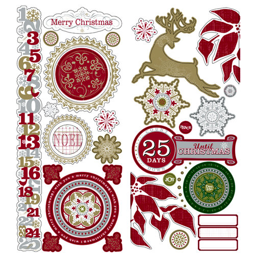 Deja Views - C-Thru - Little Yellow Bicycle - 25 Days of Christmas Collection - Embossed Metallic Cardstock Stickers - Favorite Pieces, CLEARANCE