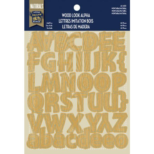 Little Yellow Bicycle - Alphabet Stickers - Chipboard - Wood Look - Montara