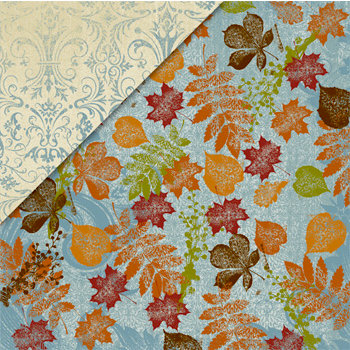 Deja Views - C-Thru - Little Yellow Bicycle - Autumn Bliss Collection - 12 x 12 Double Sided Paper - Blue Sky and Leaves, CLEARANCE