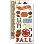Deja Views - C-Thru - Little Yellow Bicycle - Autumn Bliss Collection - Embossed Cardstock Stickers - Favorite Pieces, CLEARANCE