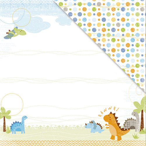 Deja Views - C-Thru - Little Yellow Bicycle - BabySaurus Collection - 12 x 12 Double Sided Textured Paper - Dino Valley
