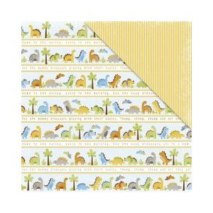 Deja Views - C-Thru - Little Yellow Bicycle - BabySaurus Collection - 12 x 12 Double Sided Textured Paper - Stripe