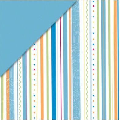 Deja Views - C-Thru - Little Yellow Bicycle - Baby Safari Boy Collection - 12 x 12 Double Sided Paper - Stripe