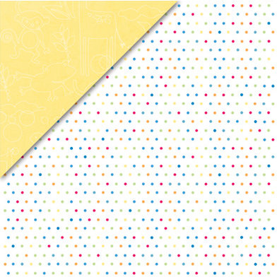 Deja Views - C-Thru - Little Yellow Bicycle - Baby Safari Boy Collection - 12 x 12 Double Sided Paper - Small Dots