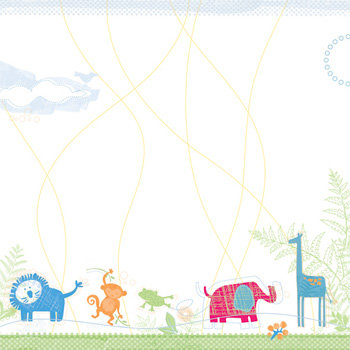 Deja Views - C-Thru - Little Yellow Bicycle - Baby Safari Boy Collection - 12 x 12 Embossed Paper - Jungle