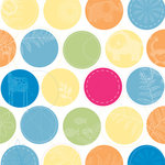 Deja Views - C-Thru - Little Yellow Bicycle - Baby Safari Boy Collection - 12 x 12 Embossed Paper - Large Dot