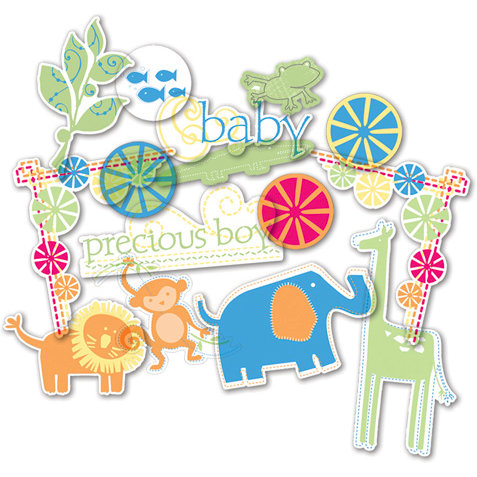 Deja Views - C-Thru - Little Yellow Bicycle - Baby Safari Boy Collection - Clear Cuts - Shapes