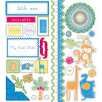 Deja Views - C-Thru - Little Yellow Bicycle - Baby Safari Boy Collection - Embossed Cardstock Stickers - Favorite Pieces