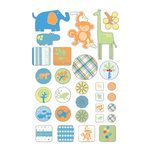 Deja Views - C-Thru - Little Yellow Bicycle - Baby Safari Boy Collection - Embossed Cardstock Stickers - Journaling Pieces