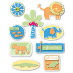 Deja Views - C-Thru - Little Yellow Bicycle - Baby Safari Boy Collection - Varnish Dimensional Stickers