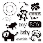 Deja Views - C-Thru - Little Yellow Bicycle - Baby Safari Boy Collection - Clear Acrylic Stamps
