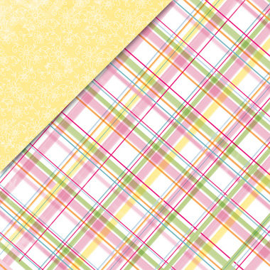 Deja Views - C-Thru - Little Yellow Bicycle - Baby Safari Girl Collection - 12 x 12 Double Sided Paper - Plaid