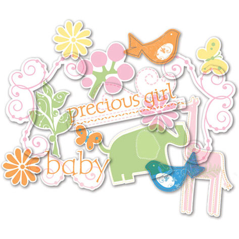 Deja Views - C-Thru - Little Yellow Bicycle - Baby Safari Girl Collection - Clear Cuts - Glitter Shapes