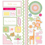 Deja Views - C-Thru - Little Yellow Bicycle - Baby Safari Girl Collection - Glitter Cardstock Stickers - Favorite Pieces