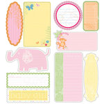 Deja Views - C-Thru - Little Yellow Bicycle - Baby Safari Girl Collection - Glitter Cardstock Stickers - Journaling Pieces, CLEARANCE