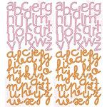 Deja Views - C-Thru - Little Yellow Bicycle - Baby Safari Girl Collection - Glitter Cardstock Stickers - Alphabet