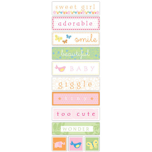 Deja Views - C-Thru - Little Yellow Bicycle - Baby Safari Girl Collection - Fabric Stickers - Words, CLEARANCE