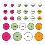 Deja Views - C-Thru - Little Yellow Bicycle - Baby Safari Girl Collection - Sticker Buttons