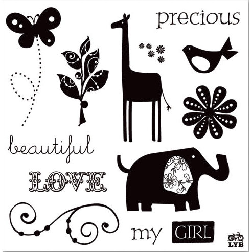 Deja Views - C-Thru - Little Yellow Bicycle - Baby Safari Girl Collection - Clear Acrylic Stamps