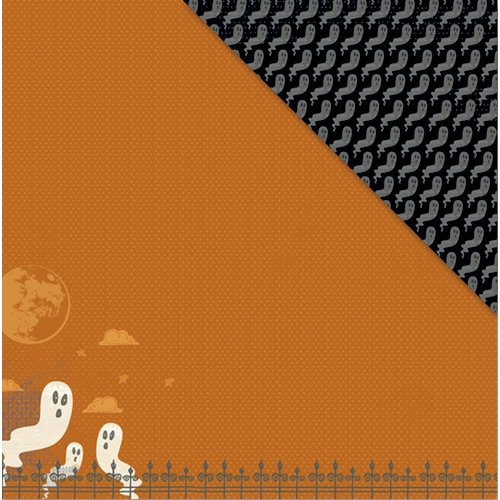 Deja Views - C-Thru - Little Yellow Bicycle - Booville Collection - Halloween - 12 x 12 Double Sided Paper - Graveyard Ghosts, CLEARANCE
