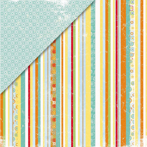 Deja Views - C-Thru - Little Yellow Bicycle - Boardwalk Collection - 12 x 12 Double Sided Paper - Bahama Striped Towel, CLEARANCE
