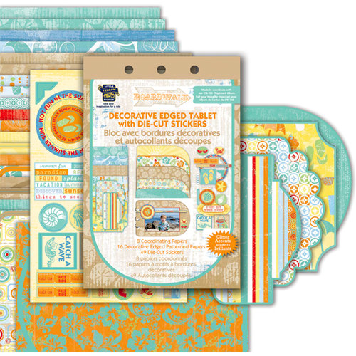 Deja Views - C-Thru - Little Yellow Bicycle - Boardwalk Collection - Die Cut Paper Tablet and Die Cut Stickers with Glitter Accents, CLEARANCE
