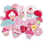 Deja Views - C-Thru - Little Yellow Bicycle - Cupcake Love Collection - Chipboard Shapes with Glitter Accents, BRAND NEW