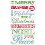Deja Views - C-Thru - Little Yellow Bicycle - Christmas Delight Collection - Chipboard Stickers with Foil Accents - Words