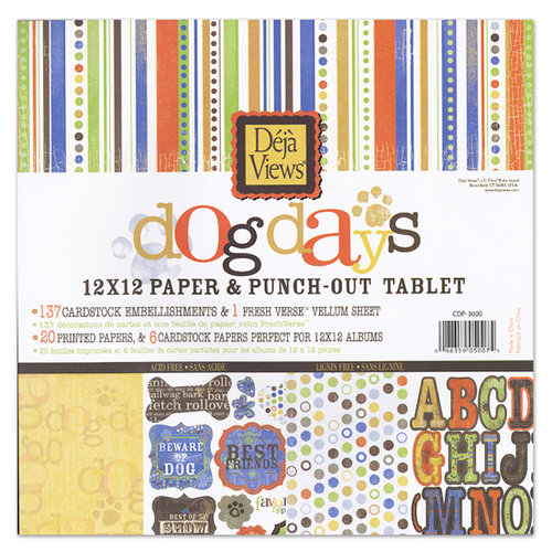 Deja Views - C-Thru - Dog Days Collection - 12 x 12 Paper and Punch Out Tablet, BRAND NEW
